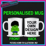 GREEN MAN CARTOON 80'S RETRO MUG PERSONALISED DESIGN